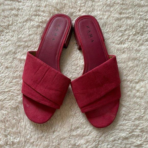 Zara suede slides sandals